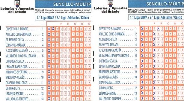 Dos boletos de La Quiniela que comparan un doble con dos columnas.